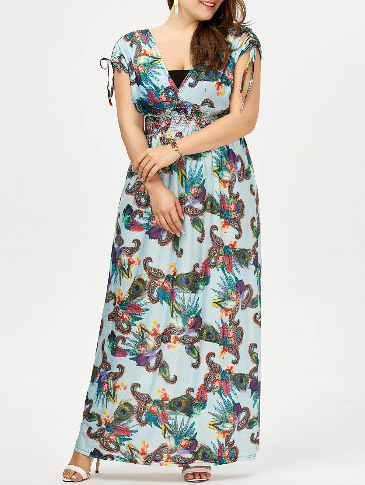 Plus Size Bohemian Printed Maxi Dress Surplice - Pers 3XL