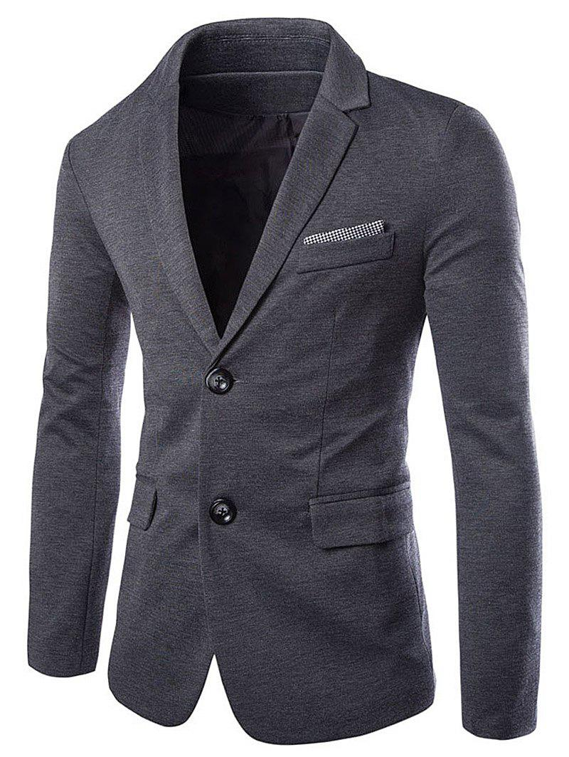 Swallow Gird Panel Single Breasted Blazer - DEEP GRAY M