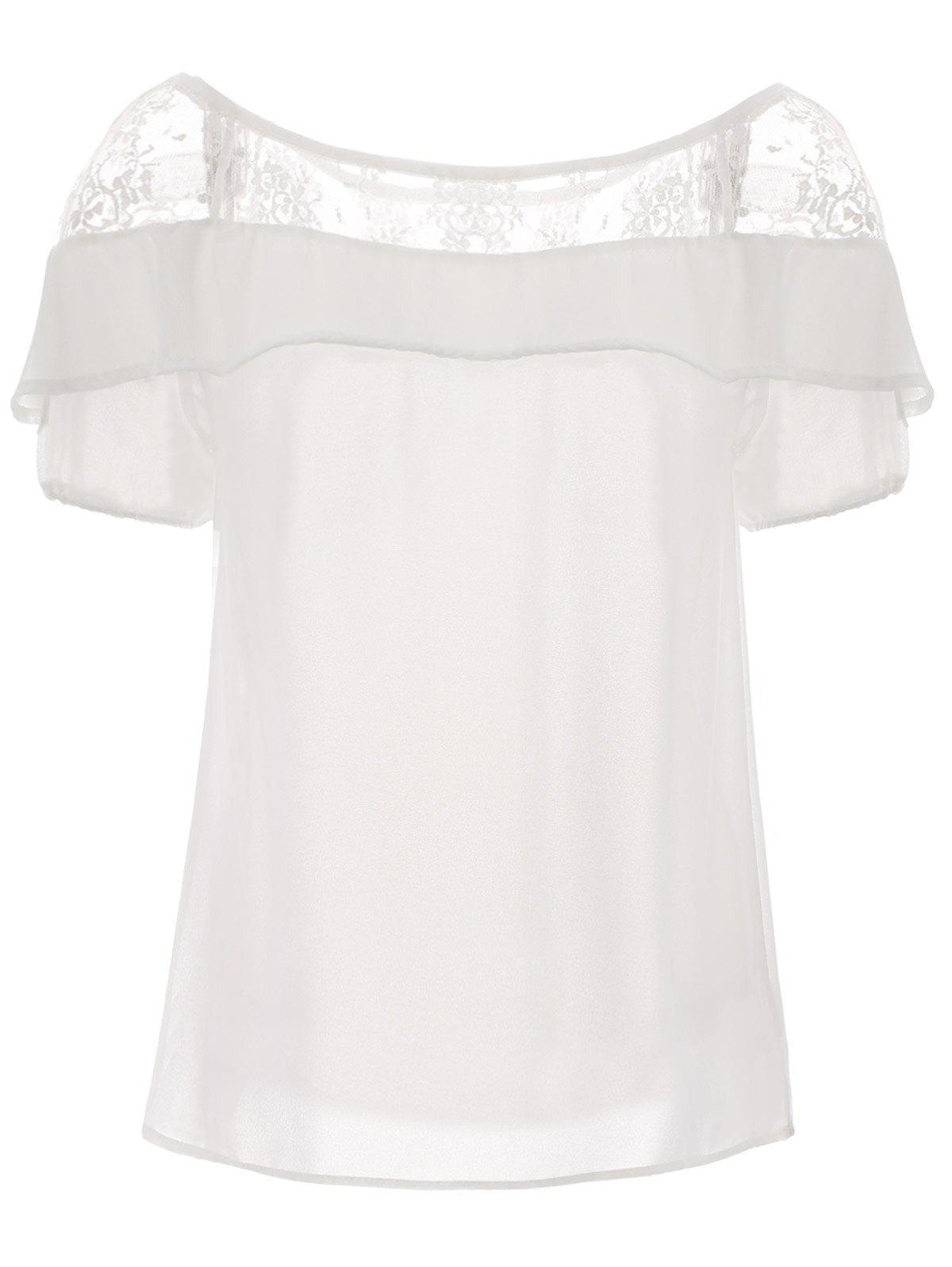 Lace Trim Ruffle Top - WHITE XL