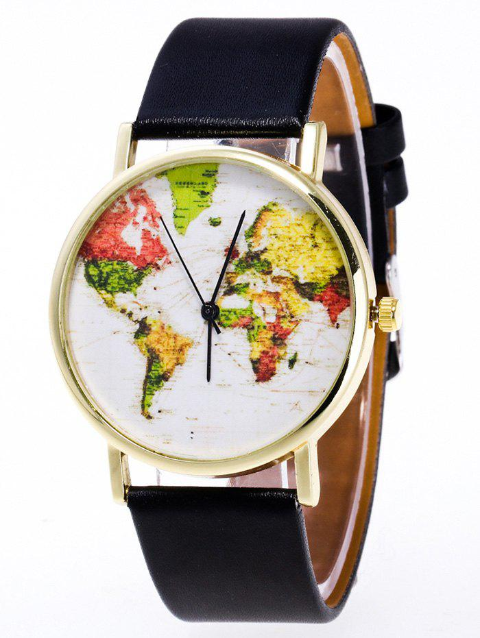 Faux Leather World Map Watch - BLACK