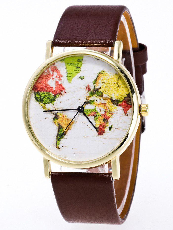 Faux Leather World Map Watch - BROWN