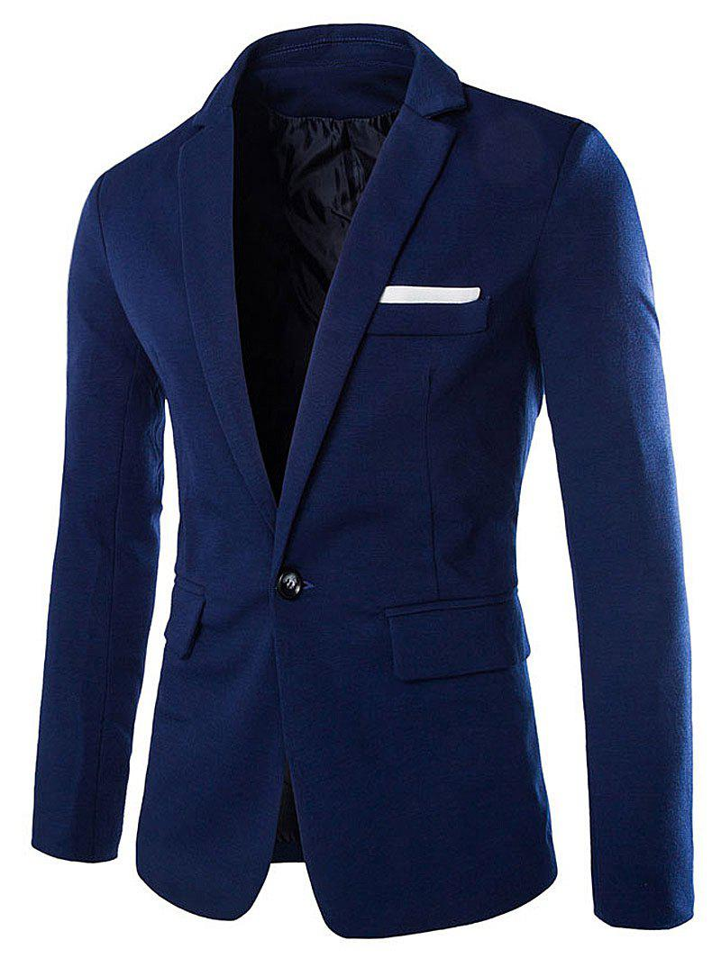 Cotton Blends Lapel One Button Blazer - CADETBLUE L