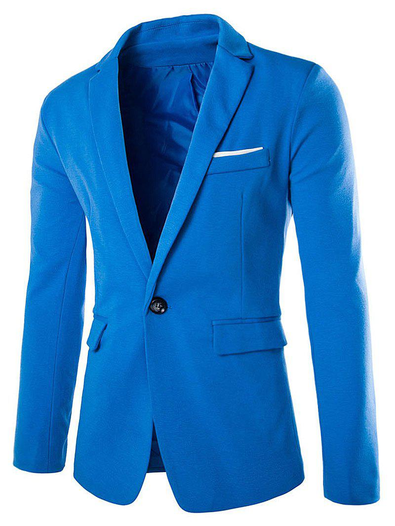 Cotton Blends Lapel One Button Blazer - LAKE BLUE L