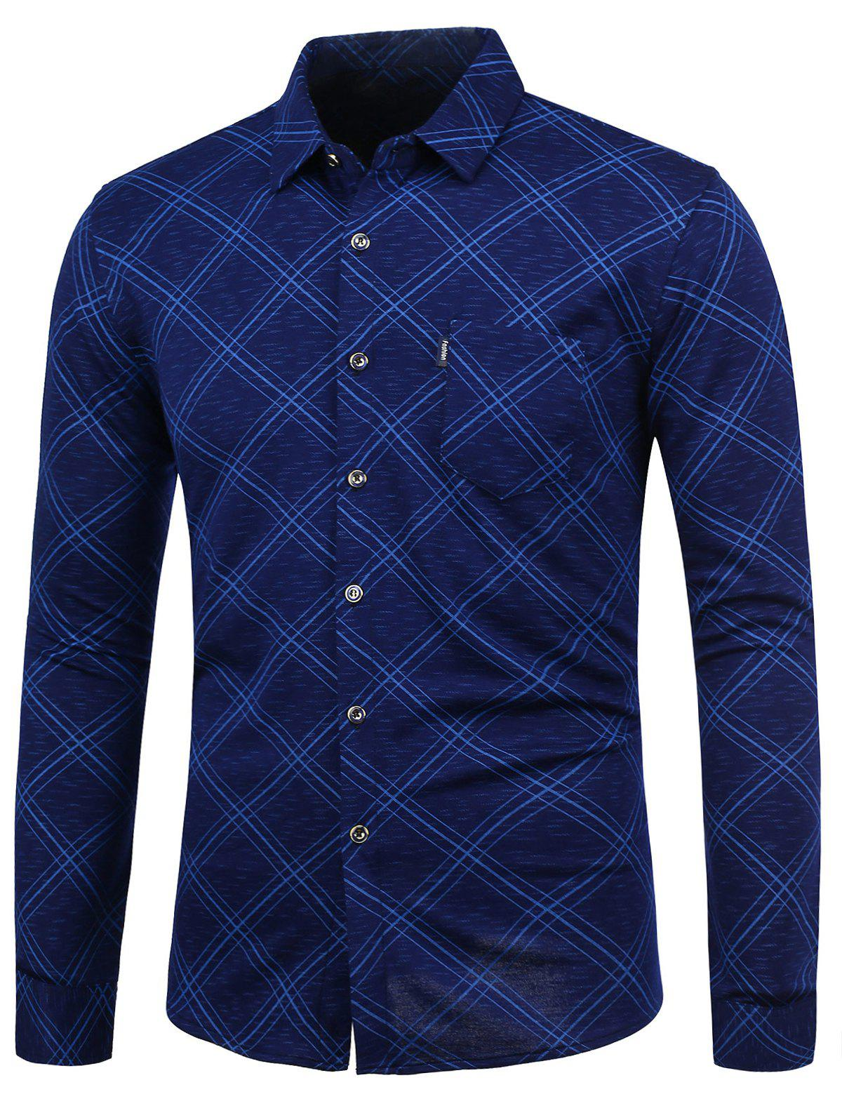 Checked Long Sleeve Shirt - BLUE L