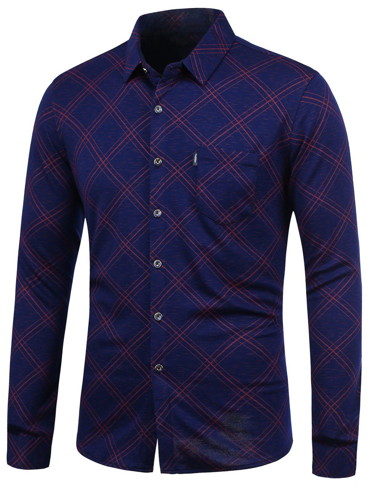 Checked Long Sleeve Shirt - RED 2XL