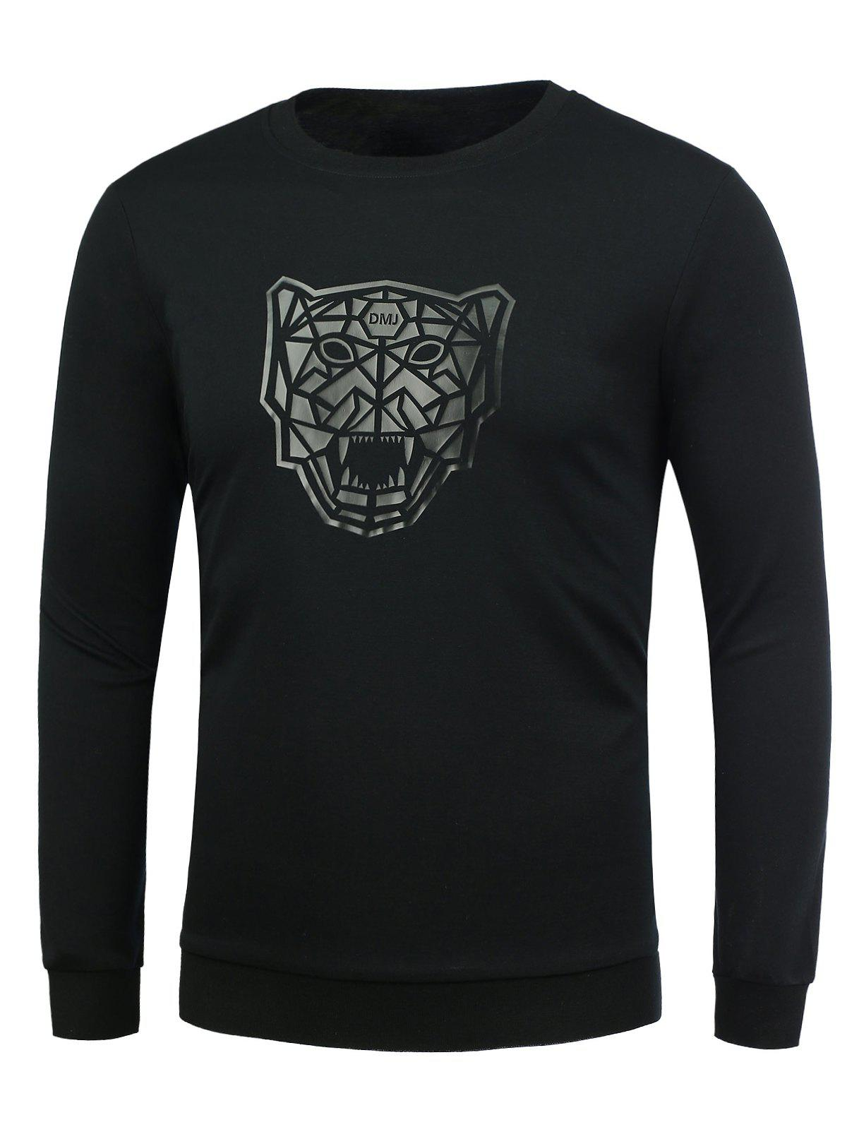 Lion Pattern Crew Neck T-Shirt - BLACK 3XL