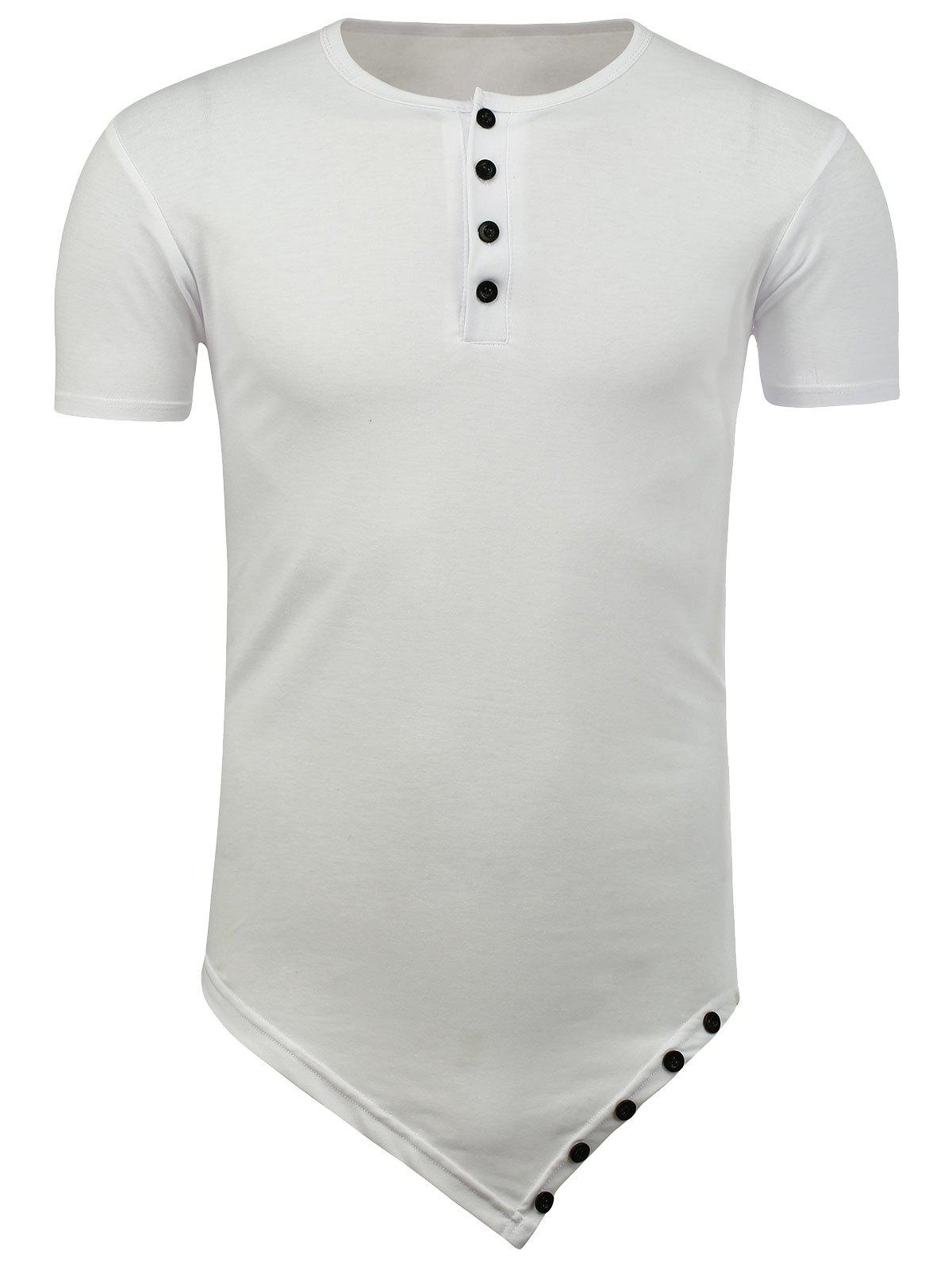 Half Button Short Sleeve Asymmetric Tee - WHITE XL