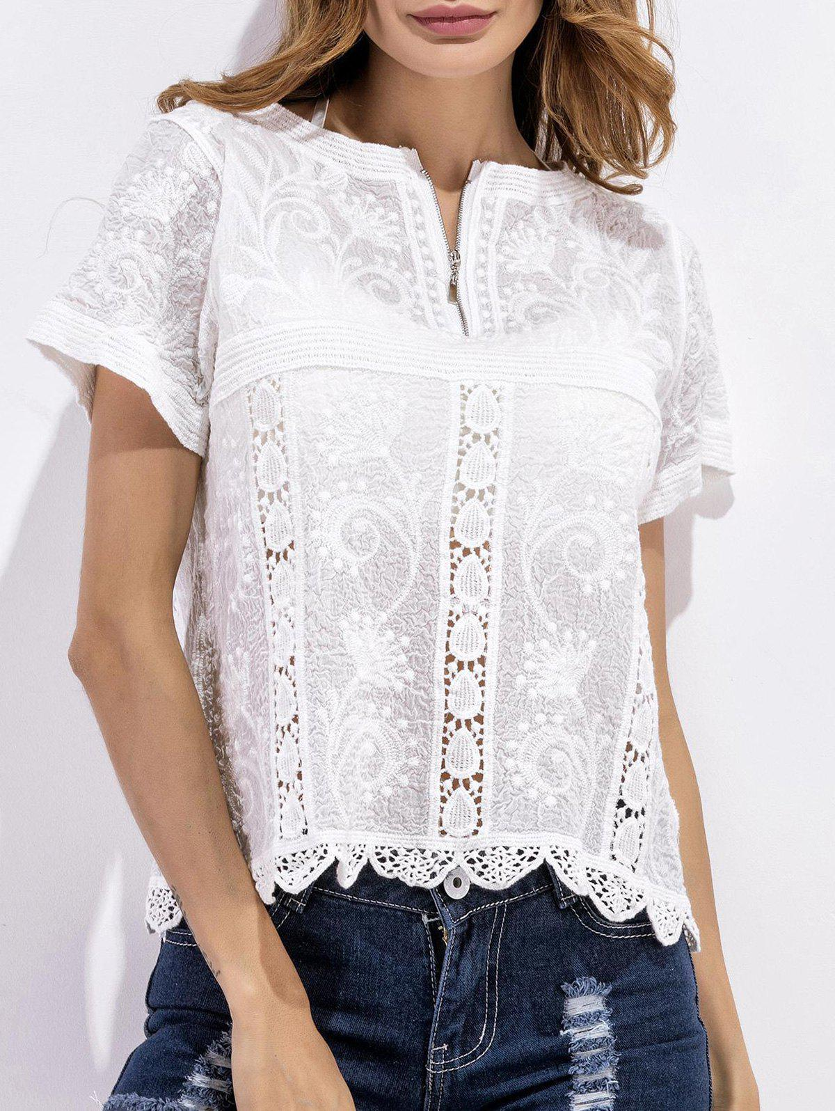 Crochet Embroidered Scalloped Blouse - WHITE ONE SIZE