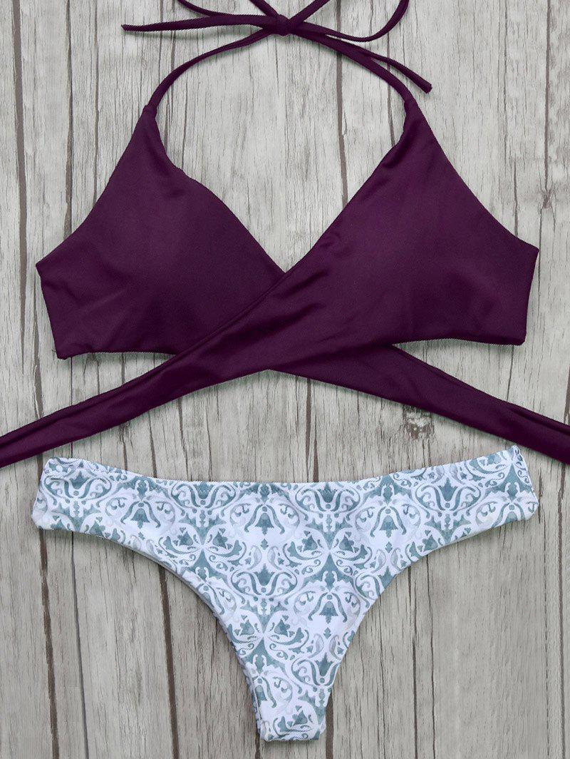 Halter Wrap Bikini Top and Baroque Print Bottoms - BURGUNDY S