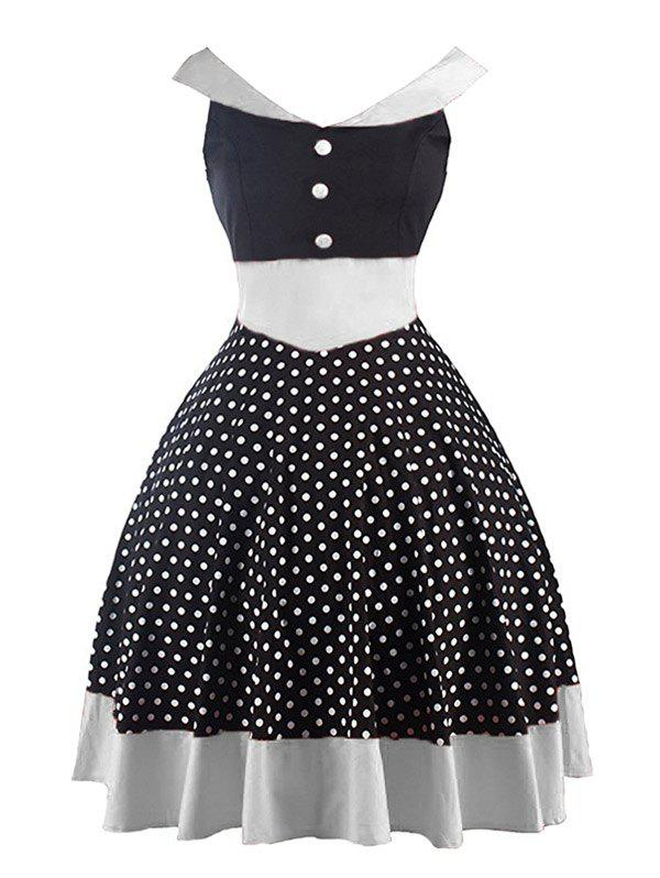 Vintage Polka Dot Mini Pin Up Dress - BLACK L