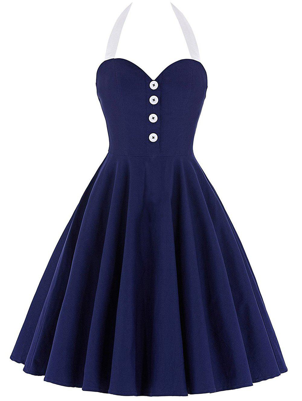 Cocktail Halter Backless Mini Pin Up Dress - BLUE S