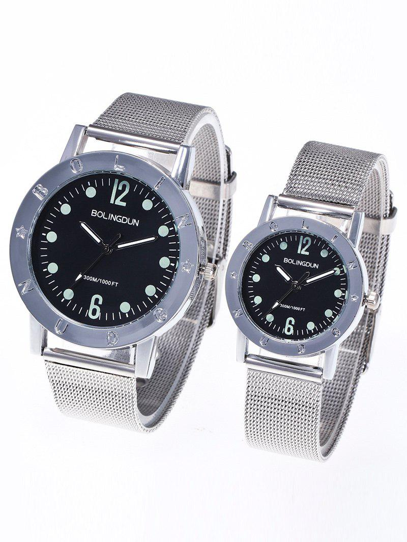 Steel Mesh Band Montres couple - Argent