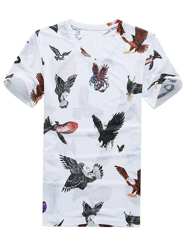 3D Eagle Print Breathable Short Sleeve T-Shirt - WHITE 3XL