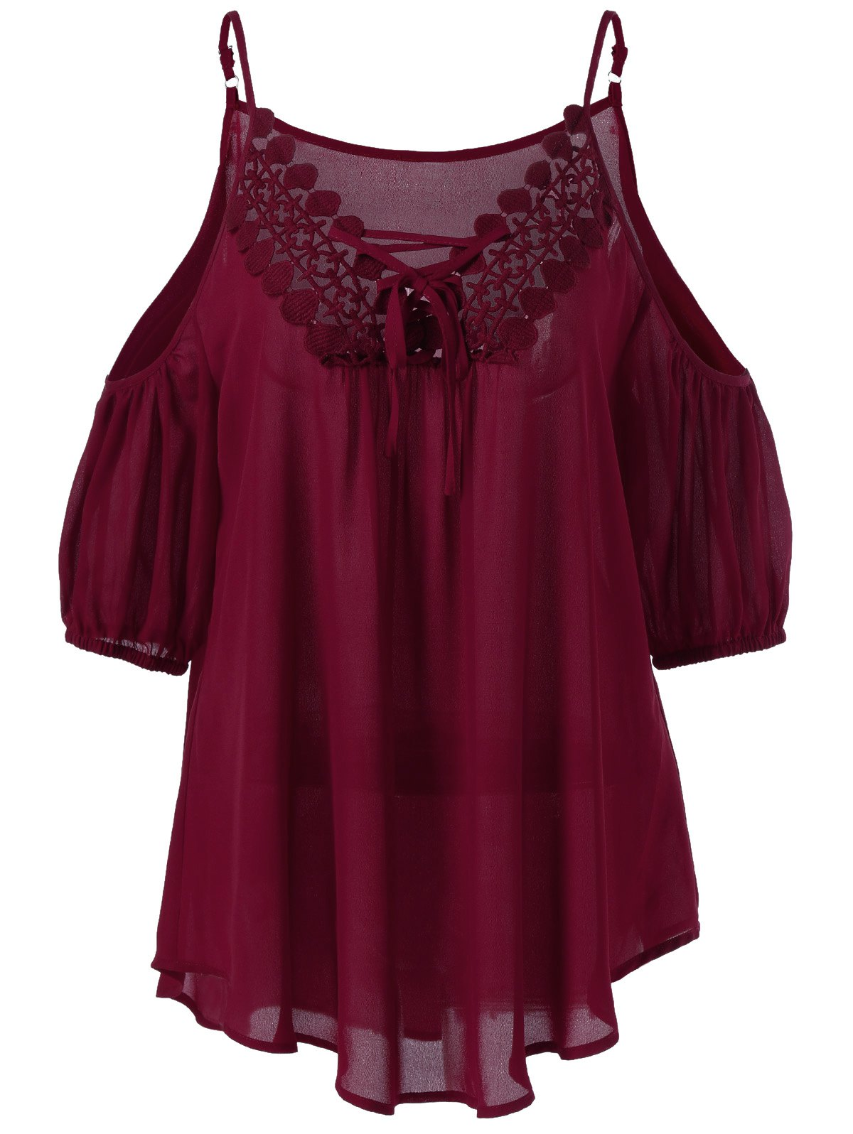 Lace Up Spaghetti Strap Cold Shoulder Crochet Top - WINE RED 4XL