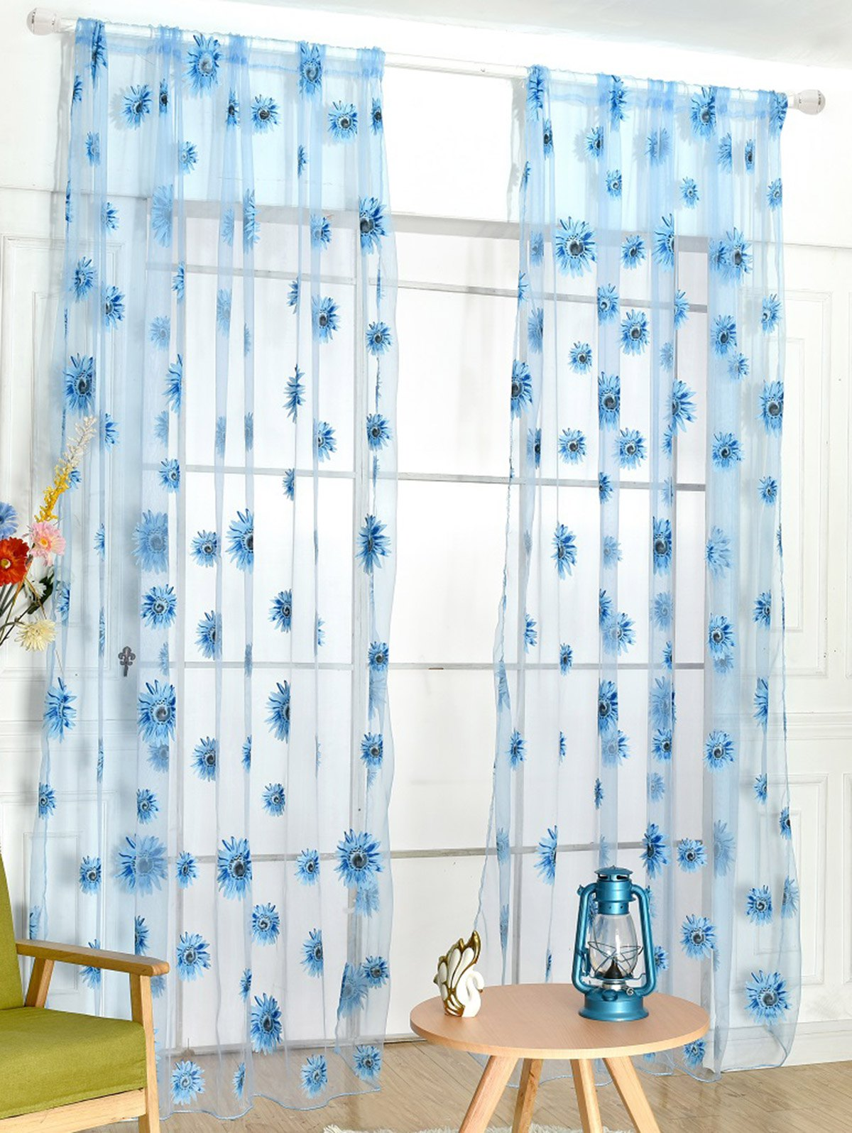 Sunflower Embroidery Tulle Curtain For Room Decor - LAKE BLUE 100*200CM