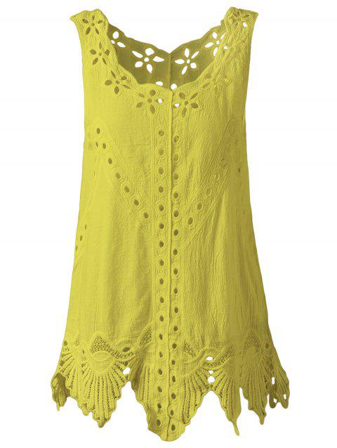 Bohemian Women's Scoop Neck Solid Color Crochet Sleeveless Blouse - YELLOW ONE SIZE