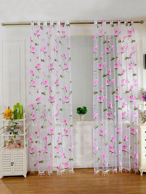 Sami Sheer Floral Print Voile Window Curtain - PINK 100*250CM