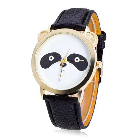 Faux Leather Panda Quartz Watch - BLACK