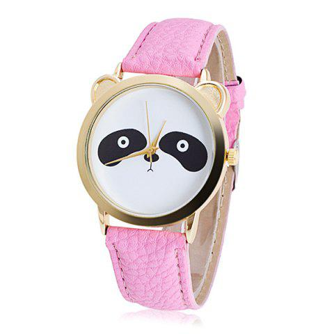 Montre Quartz en Faux Cuir à Panda - Rose