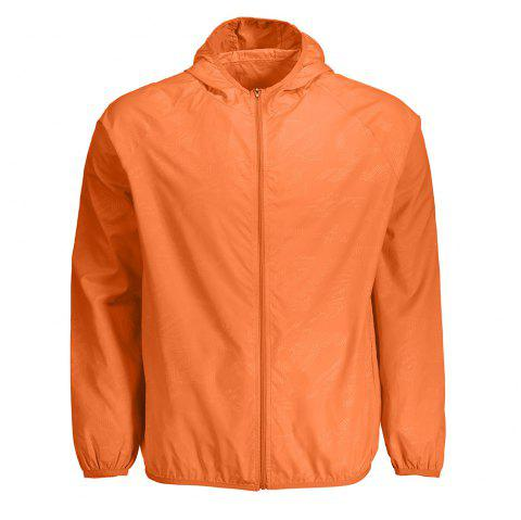 Windbreaker de la peau Unisexe capuche Quick Dry Lightweight - Douce Orange 3XL