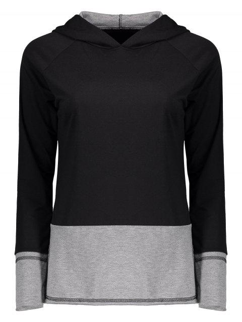 Color Block Raglan manches Sweat à capuche - Noir et Gris L