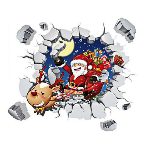 Merry Christmas 3D Santa Claus DIY Room Decoration Wall Stickers - COLORMIX