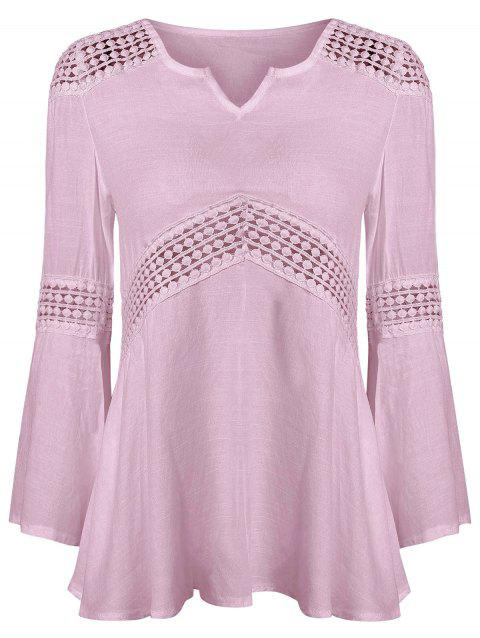 Lace Splicing V Neck Tunic Blouse - PINK S