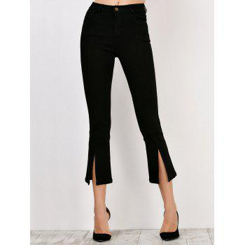 Slit Hem Skinny High Waisted Flare Pants