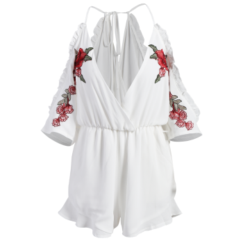 Floral Embroidered Surplice Romper - S S
