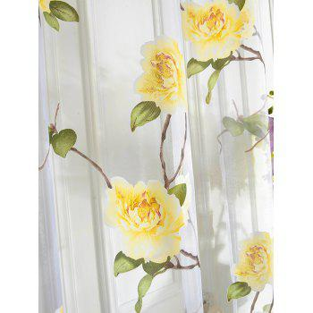 Sami Sheer Floral Tassel Window Curtain - Jaune 100*250CM