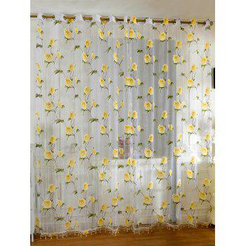 Sami Sheer Floral Print Voile Window Curtain - YELLOW 100*250CM