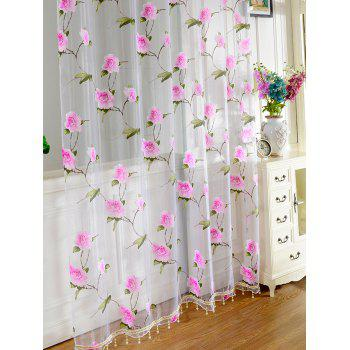 Sami Sheer Floral Print Voile Window Curtain - 100*250CM 100*250CM