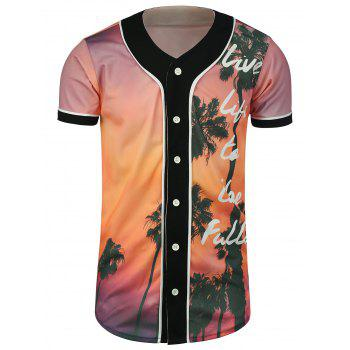 Sunset Coconut Tree Printed Baseball Jersey