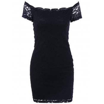 Boat Neck Lace Floral Bodycon Dress
