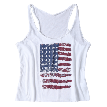 Casual Style Scoop Neck Sleeveless American Flag Print Women's Tops - WHITE S