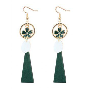 Circle Flower Faux Gem Drop Earrings