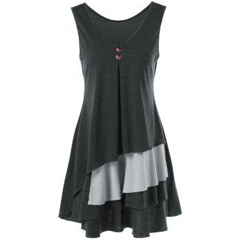 Layered Longline T-Shirt with Button