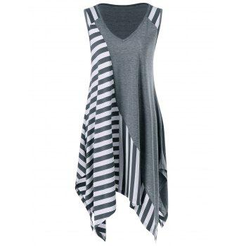 Striped Trim Handkerchief Sleeveless Longline T-Shirt