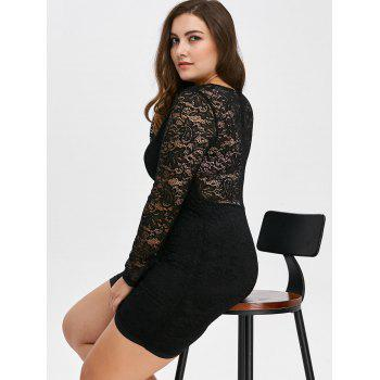Low Cut Lace Short Bodycon Scalloped Dress with Long Sleeves - 3XL 3XL
