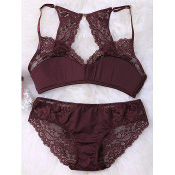 Lace Panel Sheer Wire Free Bra Set