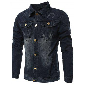Chest Pocket Destroyed Denim Jacket