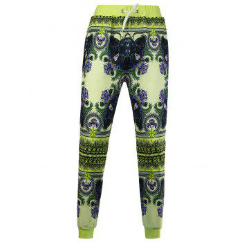 Drawstring Flowers Printed Jogger Pants