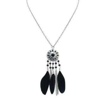 Sun Feather Fringed Necklace