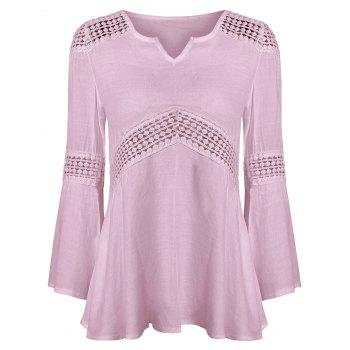 Lace Splicing V Neck  Blouse