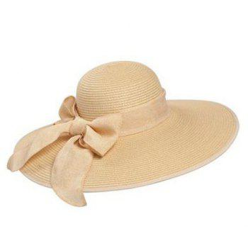 Bowknot Strap UV Protection Floppy Straw Hat