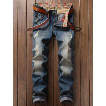 Washable Distressed Straight Jeans