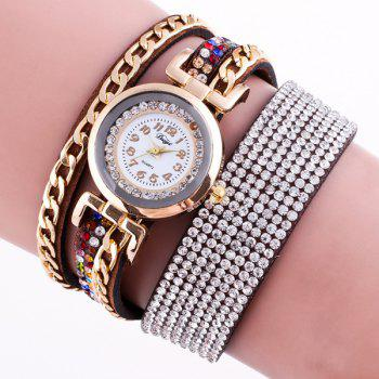 Chain Rhinestoned Wrap Bracelet Watch