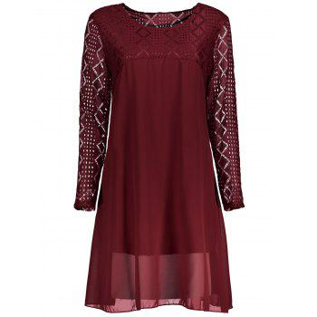 Plus Size Lace Openwork Chiffon Swing Dress