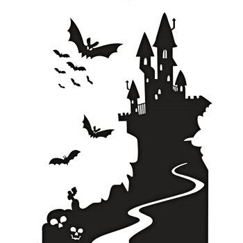 Bat Castle Decorative Removable Halloween Wall Sticker