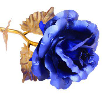 Birthday Gift Gold Plated Rose Flower - BLUE